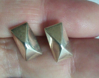 Sterling Oblong Pyramid Studs