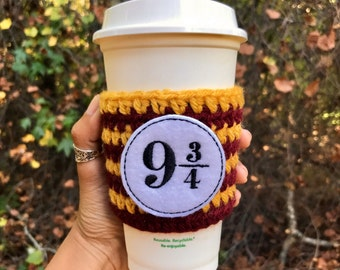 Platform 9 3/4 Coffee Cozy- Wizard Coffee Cozy- Magic Coffee Cozy - Harry Potter Coffee - Harry Potter Cup Cozy - Harry Potter Inspired Gift