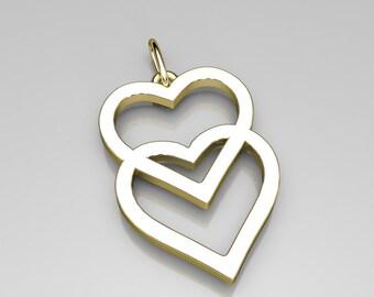 Double heart pendant, love hearts-double heart pendent