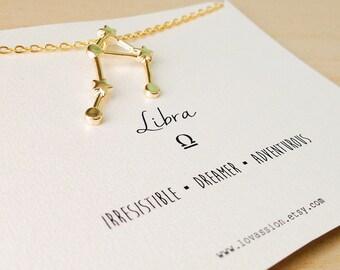 Libra Necklace, libra constellation necklace, gold libra necklace, gold libra constellation necklace, star sign necklace, 14k