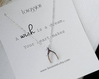 Wishbone Necklace, silver wishbone necklace, make a wish necklace, inspirational, dainty, lucky,tiny, silver, wishbone, necklace