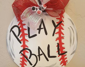 Let's play ball wood decor