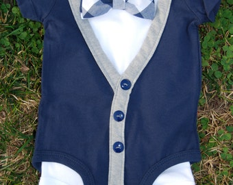 Navy blue Short Sleeve cardigan onesie set
