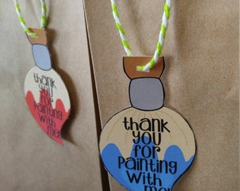 Art Party Favor Tag, Paint Party Favor Tag, Thank You Tags, Paint Party Gift Tag, Our Little Artist, Paintbrush Thank You Tag Custom Digital
