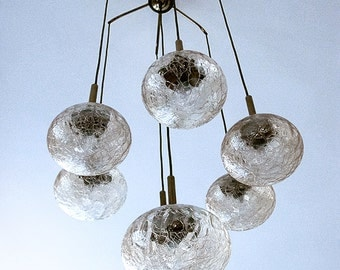 Scandinavian suspension in brass and smoked cracked glass - 7 lights. 1950
