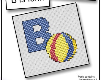 B is For... Ball Mini Alphabet Cross Stitch Kit with DMC Thread, 5x5 cm