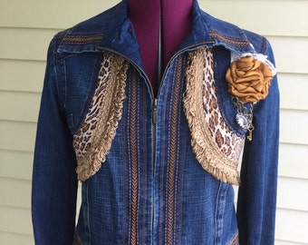 Upcycled steampunk jean jacket