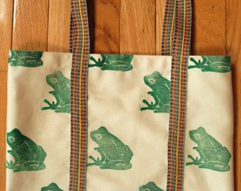 Block Printed Tote: Green Frogs Pattern