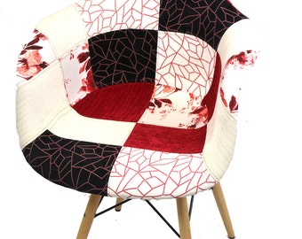 Cherry Blossom Red Patchwork Wood Legs Chair