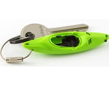 WhiteWater Kayak Keychain - 5 Colors -  Flexible Plastic PVC with stainless steel ring - Kayaking Paddling accessories - outdoor key gift