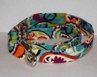 Fabric Dog Leash – Turquoise Print Dog Leash – Turquoise Dog Leash – Handmade Fabric Dog Leash
