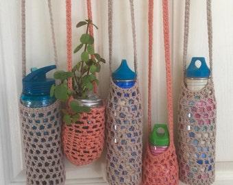 Water bottle shoulder carry bag/ festival bottle holder