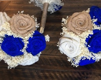 Small Bridesmaids Bouquets, Royal Blue bouquets, Burlap Bridesmaids Bouquets, Rustic Bouquets, Burlap Bouquets, Bouquets, Burlap Weddings