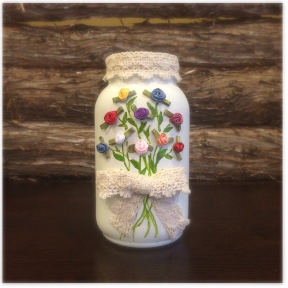 Country Wedding Centerpieces Mason Jars: Rustic Ivory Mason Jar Rustic Wedding Centerpiece Country
