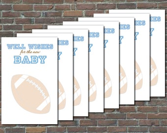 Football-Themed Well Wishes For The New Baby Cards - Printable Instant Download
