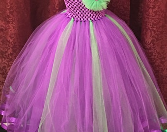 Purple and green flower girl dress with ribbon