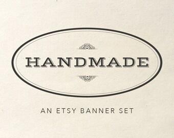 Etsy Shop Banner Set - rustic etsy shop branding, vintage etsy shop banner, etsy banner, etsy shop design, vintage etsy shop set
