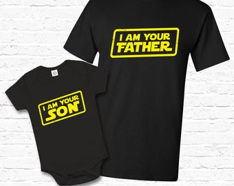 Father Son Matching Set I am Your Father T-shirt Tshirt Tee Shirt Baby Bodysuit Cute Fathers day gift Set for Dad Star Wars Parody TF-129-94