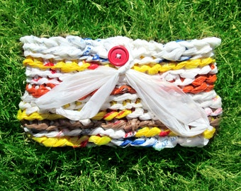 Cute Funky Upcycled Plastic Bag Clutch Purse, Crochet Plarn Bag, Recycled Grocery Bags