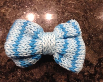 Blue Striped Knit Bow with Alligator Clip