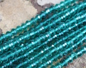 4x6mm, faceted round, green beads, teal green beads, summer beads, rondelle beads, full strand,