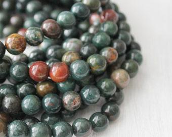 Bloodstone 8mm Round - AA Quality Full Strand Mala Beads Bracelet Beads