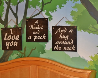 "Baby's Room Paintings, Nursery Room Art. Solid Wood, Hand Painted 1-sided - ""I Love you a Bushel and a Peck"" signs. Three Piece Set"