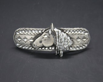 noble horse barrette. 70 mm french clip