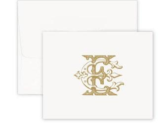 Antique Monogram Stationery, Custom notes, notecards, modern monogram,  stationery set, foldover, personalized note cards, graduation gift