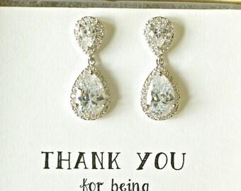 Crystal Dangle Earrings, Crystal Teardrop Earrings, Crystal Wedding Earrings, Silver Dangle Earrings, Bridesmaid Earrings, ES1