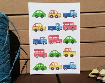 Card Cars Pattern - A6 Postcard - Blank Card - Just Because Card - Card Recycled Paper.
