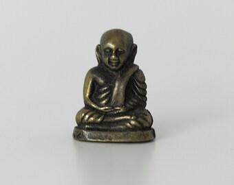 Meditating Buddha miniature brass figure - China - end of 20th century