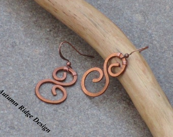 Hammered 'S' Copper Earrings