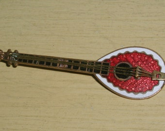 Vintage Guilloche Enamel Red & White Mandolin Brooch Pin-Highly Detailed
