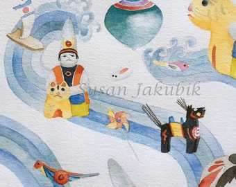 Japanese Toys Watercolor, Archival Print