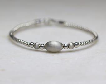 Sterling Silver Beaded Bracelet, Bangle
