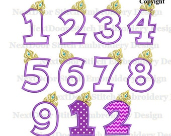 Crown number embroidery design, cold princess birthday set Machine applique download,  number 1-9 package, prs-006-1-9