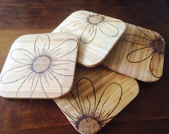 Set of coasters, flower coasters, floral drinks coasters, personalised gifts, wood coaster, wood burned drinks mat, rustic home decor,