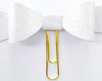 GLITTER COLLECTION Bow Planner Paper clip in Adorable Pastel Springtime White Glitter Bow,Planner Accessories,Planner Paperclips collection