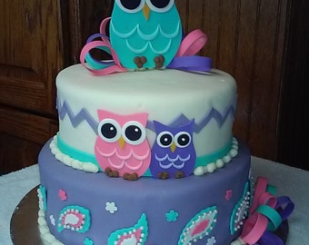Adorable Owl and Paisley Cake Topper Set! Fondant