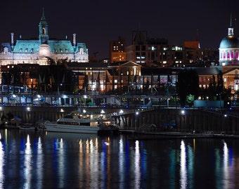 Montreal Night Skyline - Marché Bonsecours - Hôtel de Ville de Montréal - Old Montreal - Vieux-Port de Montréal - Québec - Canada - Print