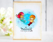 We Mermaid For Each Other - Lawn Fawn Handmade Love Romantic Valentine's Anniversary Card