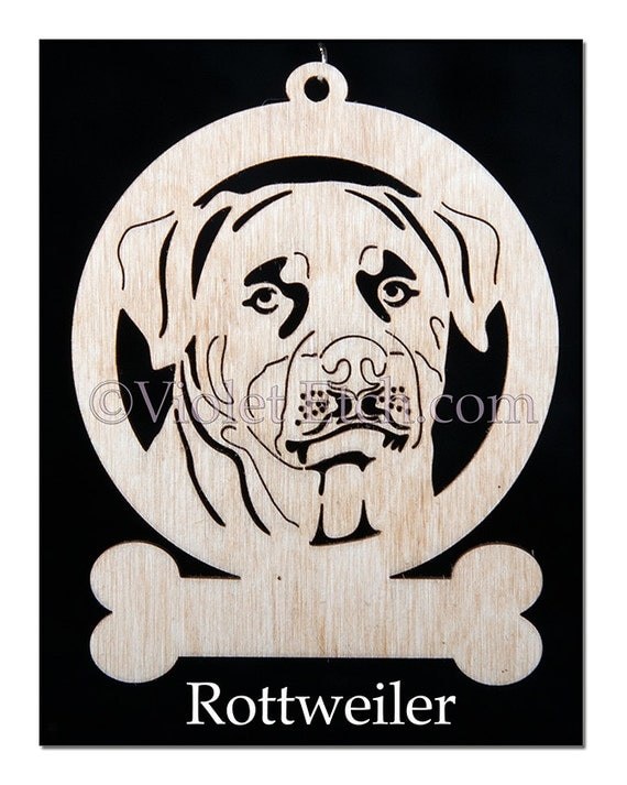 Rottweiler Ornament-Rottweiler Gift-Wood Rottweiler Ornament-Free Personalization