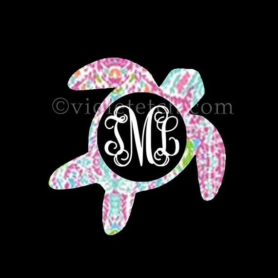 Turtle Decal-Vine Monogram Decal-Turtle Monogram-Yeti Decal-Lilly Turtle Decal-Laptop Decal-Car Window Decal
