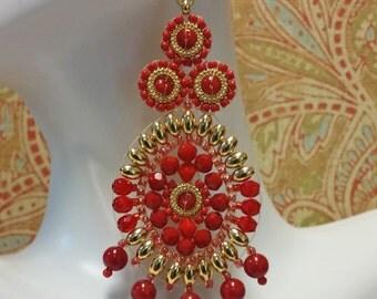 Venetian Red and Gold Seed Bead Earrings -  - OOAK