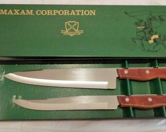 Maxam Stainless Steel 9'' French Chef Knife and 8'' Carving Knife Set Unused Vintage