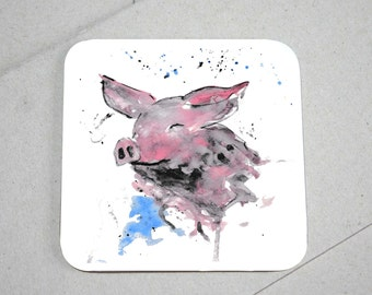 Pig coaster, wooden coaster, pig lover gift, table coaster, drink coaster, tile coaster, housewarming gift, coasters