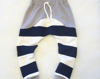 Contrasting Pants - Navy blue and off white stripes w/Grey