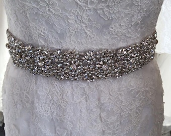 "Crystal and pearl bridal sash  ""Scarlett"""
