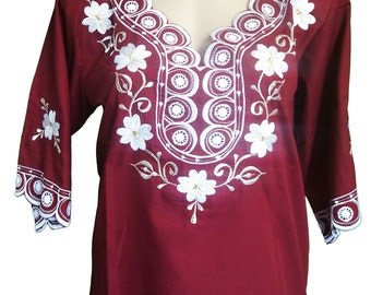 ON SALE Long Sleeve Mexican Embroidered blouse, Size M with lace inserts   WAS 80AUD